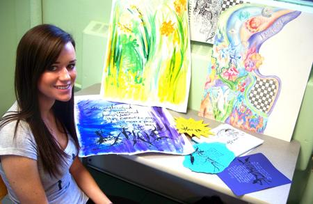 image courtesy of Constance Pierce: Senior Tess Hanna uses colored pencils and watercolors to create her works of art. She joins six other student artists whose work will be displayed at the Quick Center starting next Friday.