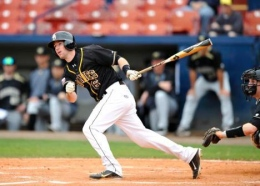 Image courtesy of GoBonnies.com: Junior Billy Urban drives it deep during a spring training game. The Bonnies travel to Marshall for a three-game series March 16-18.