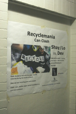 Hannah Chesley/The Bona Venture: St. Bonaventure University is encouraging students to recycle more often with a competition between residence halls throughout the month of March.