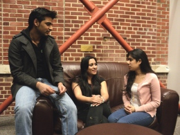 Angelia Roggie/The Bona Venture: Co-president Usman Jilani (left), secretary Myra Khan (center) and co-president Mahmuda Khan (right) of the Muslim Student Association discuss ideas and activities for the group in Café LaVerna. The three seniors started the group to give Muslim students a place to practice their religion and beliefs with others similar to them.