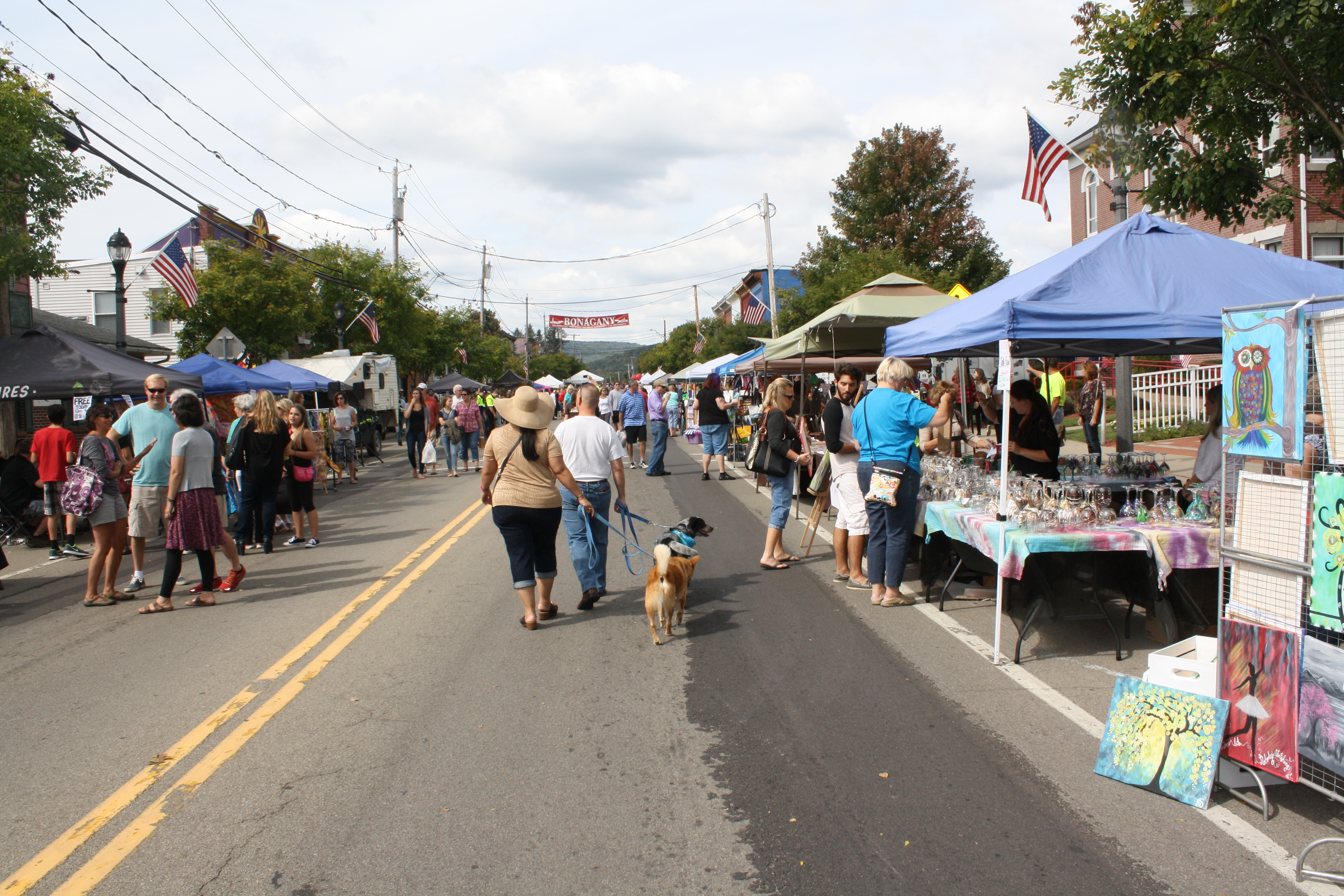 Booming Bonagany- Allegany Residents, Bonaventure students and families browse the vendors' tents down Main Street last fall.